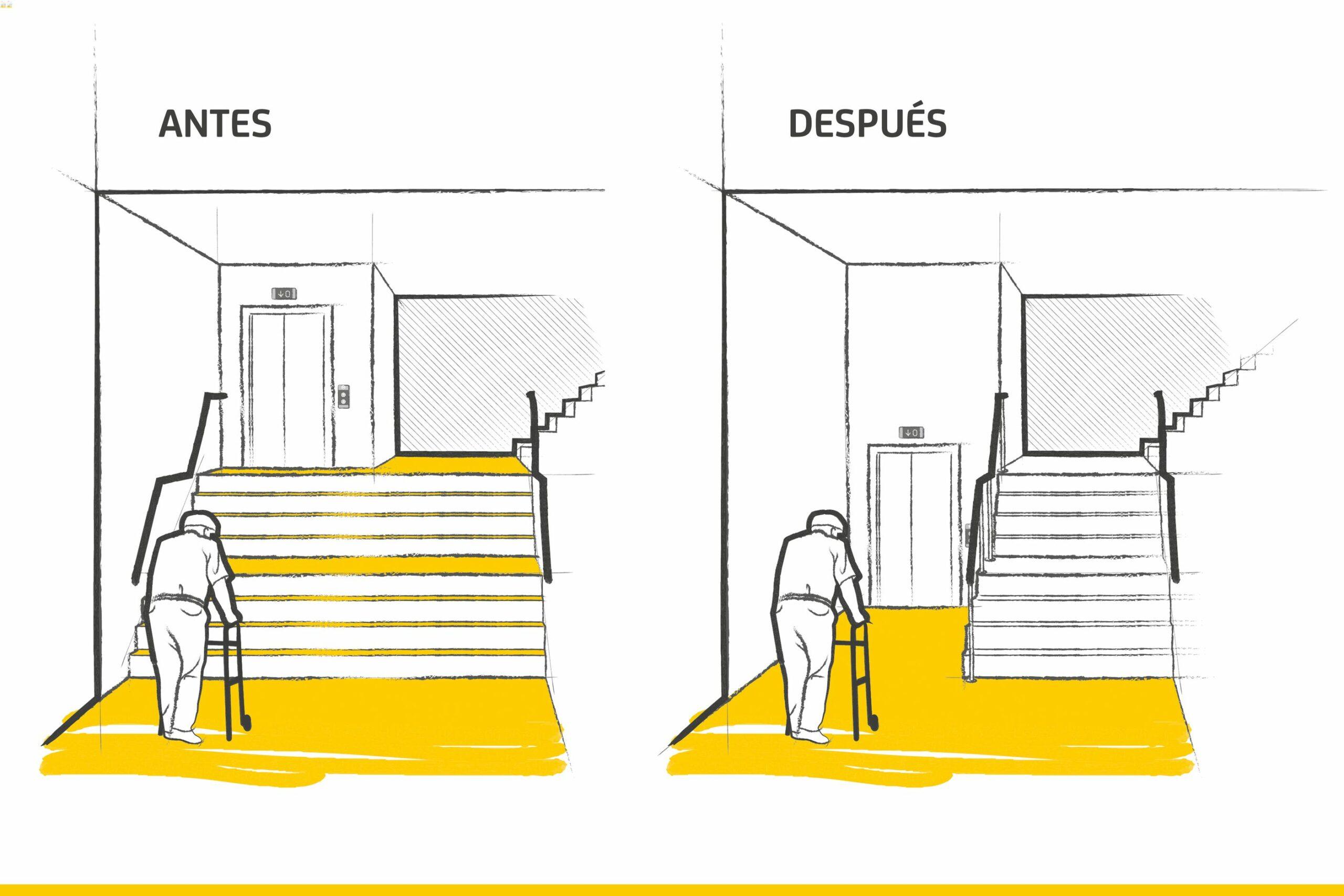 Bajada de ascensor a cota cero (antes y después)