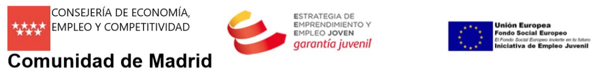 Logo consejería de economía, empleo y competitividad de la CAM. Logo de Garantía juvenil. Log de Fondo social europeo para empleo juvenil.